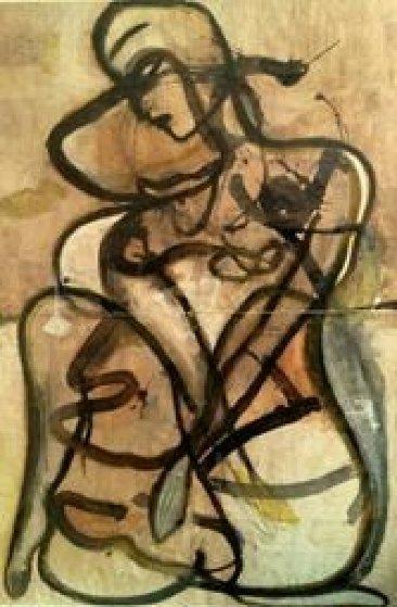 Philosopher 1993 83x59 Mural Original Painting by  Jamali