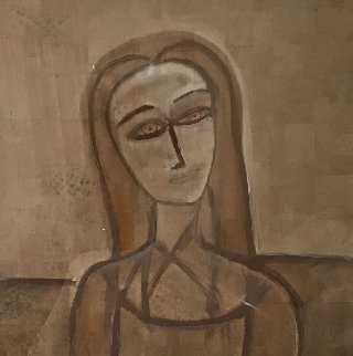 Untitled Portrai 1990 48x48 Original Painting by  Jamali