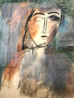 Untitled Portrait 1983 42x46 Original Painting by  Jamali