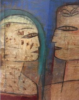The Conversation 1999 51x51 Original Painting by  Jamali