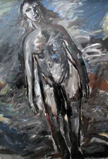 Woman: Untitled 1989 80x55 Original Painting by  Jamali