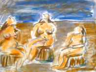 Bathers Suite of 4 Paintings 1982 33x58 Super Huge Original Painting by  Jamali - 0