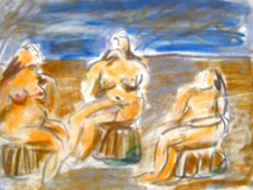 Bathers Suite of 4 Paintings 1982 33x58 Original Painting -  Jamali