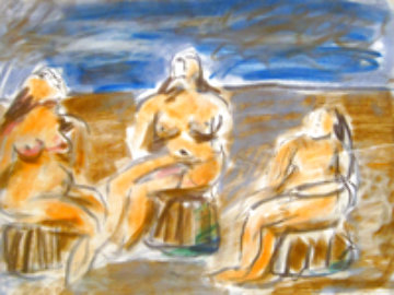 Bathers Suite of Four Paintings 1982 33x58 Original Painting by  Jamali