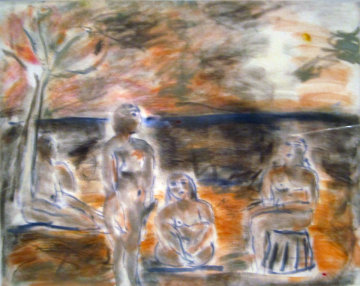 Bathers Suite of 4 Paintings 1982 33x58 Super Huge Original Painting -  Jamali
