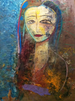 Untitled Portrait  2006 88x65  Huge  Original Painting -  Jamali