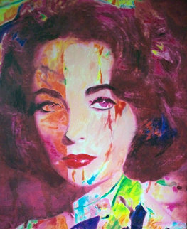 Orange Liz (Elizabeth Taylor) 2007 37x28 Original Painting - James F. Gill