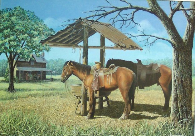 Sunday Visit 1985 20x28 Original Painting by James Lumbers