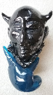 Untitled Sculpture of Blue Hand Holding Black Unique Head 1990 14 in Sculpture by Martin Janecky - 0