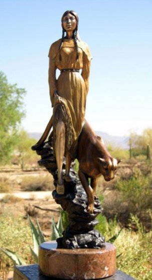 Mountain Pride - Native American Bronze Sculpture 28 in Sculpture by J. Anne Butler
