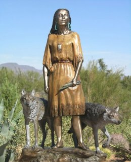 Daughter Who Walks With Wolves Bronze Sculpture 2008 32 in Sculpture by J. Anne Butler
