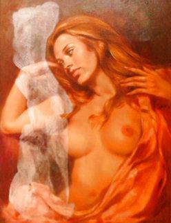 Half Nude 1970 36x24 Original Painting - Leo Jansen