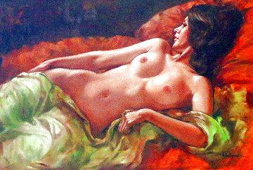 Untitled Nude 29x41 Original Painting - Leo Jansen