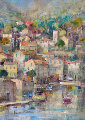 Port Sous La Montagne 1994 25x21 Original Painting - Daniel Jaugey