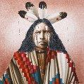 Four Feathers 1995-96 30x30 Original Painting - J.D. Challenger