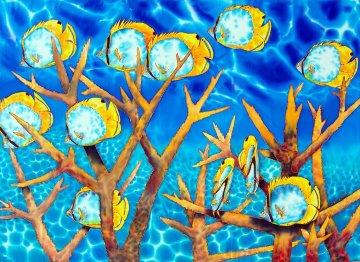 Dancing  Butterflies 2014 30x40 Super Huge Original Painting - Daniel Jean-Baptiste