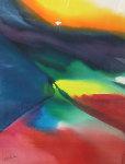 Phenomena Ceiling Light Watercolor 1985 43x31 Watercolor - Paul Jenkins