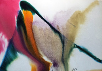 Phenomena  Occullation by Luna Watercolor 1979 30x41 Watercolor by Paul Jenkins
