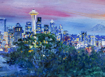Seattle Sunset 2014 20x55 Original Painting - Jerry Blank