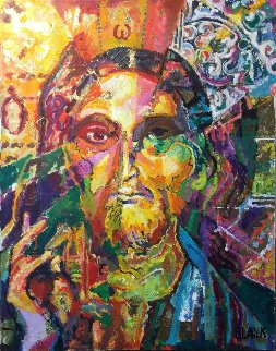 Christ Montage 2017 22x28 Original Painting - Jerry Blank