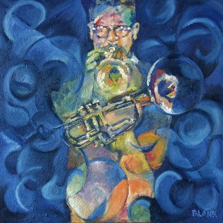 Dizzy's Horn 2006 40x40 Original Painting by Jerry Blank
