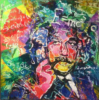 Einstein 2017 20x20 Original Painting - Jerry Blank