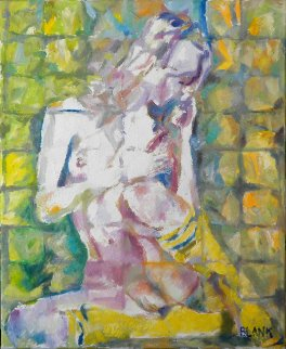 Nude in Yellow Stockings 2014  28x22 Original Painting - Jerry Blank