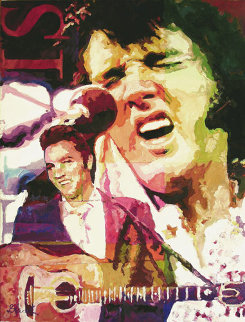 King Elvis Presley 2008 24x18 Original Painting by Jerry Blank