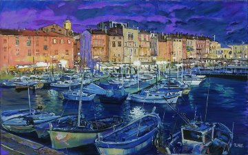 San Tropez, France 2008 30x48 Original Painting - Jerry Blank