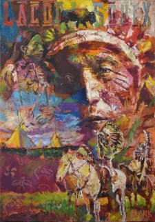 Sitting Bull 2014 40x28 Original Painting by Jerry Blank