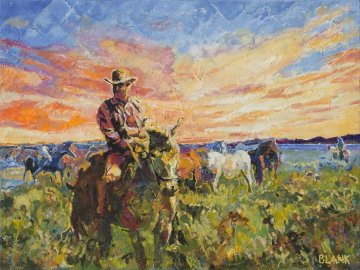 Marshall Dillon With Horses 2014 30x40  Original Painting - Jerry Blank