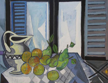 Interior Con Frutas 1989 45x37 Original Painting - Jesus Fuertes