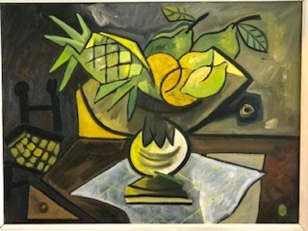 Mesa Con Frutas 1988 30x37 Original Painting by Jesus Fuertes