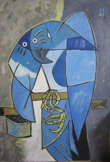 Blue Tropical Bird 1983 38x27 Original Painting by Jesus Fuertes