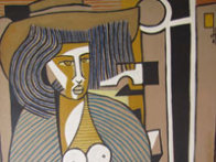 Woman with a Cat 1984 39x27 Original Painting by Jesus Fuertes - 1