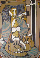 Woman with a Cat 1984 39x27 Original Painting by Jesus Fuertes - 0