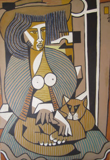 Woman with a Cat 1984 39x27 Original Painting - Jesus Fuertes
