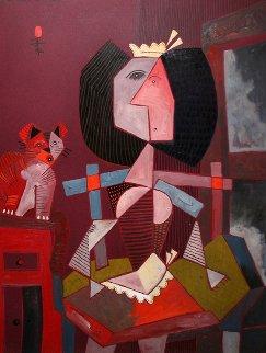 Criada Y Gato 1992 43x33 Original Painting - Jesus Fuertes