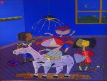 Children At Play 2000 70x48 Original Painting - Jesus Fuertes