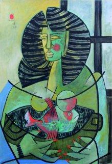 Mujer Con Peces Rojos 1984 39x27 Original Painting - Jesus Fuertes