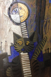 Gato Con Luna 47x34 Original Painting by Jesus Fuertes