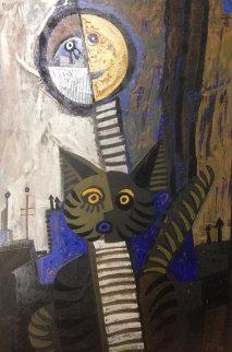 Gato Con Luna 47x34 Original Painting - Jesus Fuertes