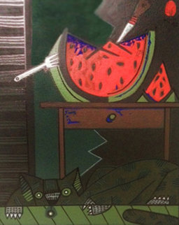 Cat With Watermelon 1992 27x30 Original Painting - Jesus Fuertes
