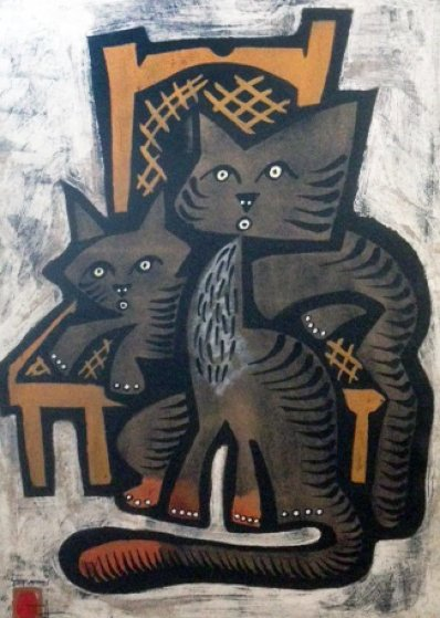 Two Cats  1991  Limited Edition Print by Jesus Fuertes