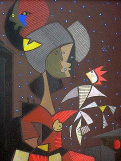 Mujer Con Paloma 26x30 Original Painting - Jesus Fuertes