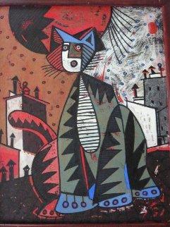 Gato Rojo (Red Cat) 1991 30x27 Original Painting - Jesus Fuertes
