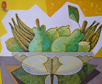 Frutas 1991 30x27 Original Painting - Jesus Fuertes