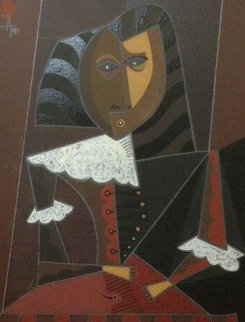 Untitled 1991Portrait  30x27 Original Painting - Jesus Fuertes