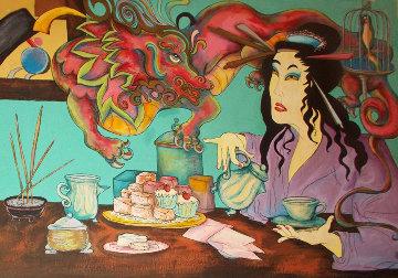 Untitled Japanese Woman 1987 123x154 Mural Super Huge Original Painting - Jett Jackson