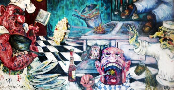 Great Kitchen Fight Triptych 1983 120x60 Original Painting - Jett Jackson